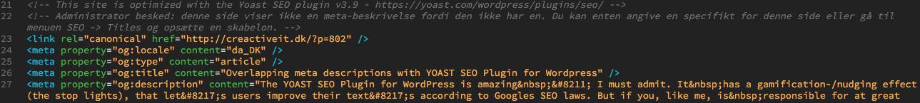 yoast seo plugin overlapping meta descriptions code